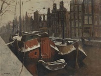 a view of an amsterdam canal by jan korthals