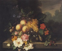 nature morte de fruits et fleurs disposés sur un entablement by ange louis guillaume lesourd-beauregard