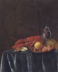 still life of a lemon, hazelnuts and a crab, a lobster, oysters, wine-glasses, grapes & a stoneware flagon, on a table draped with a grey cloth by philips gysels