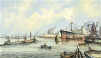 view of a harbour by willem bos