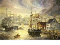 harbor scene with fishing boats by robert lebron