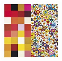 acupuncture/flowers (checkers); acupuncture/flowers (2 works) by takashi murakami