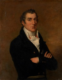 portrait of arthur wellesley, 1st duke of wellington, in a dark jacket with a white waistcoat and a pleated jabot by george dawe