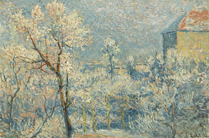 le jardin sous la neige rue cortot by maximilien luce