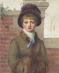 winter: a young girl with a fur muff and hat by kate greenaway