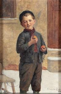 knabe mit schlitten und äpfeln by edmund adler