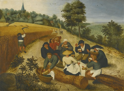 summer: figures eating during the summer harvest by pieter brueghel the younger