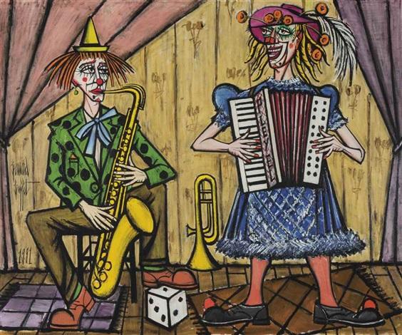 Les clown musiciens, le saxophoniste by Bernard Buffet on ...