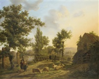 figures in a rural landscape by jeanne marie joséphine hellemans