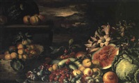 nature morte a la pasteque et au panier de fruits by francesco della questa
