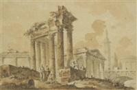 promeneurs dans les ruines d'un temple circulaire avec un sarcophage (+ promeneurs dans les ruines d'un temple près d'un pont et d'une colonne historiée; pair) by claude louis châtelet