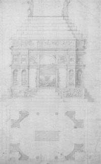 elevation et plan pour le tombe de piero de'medici by antonio da sangallo the younger