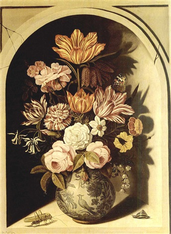 a still life with roses tulips carnations lily of the valley marigolds forget me nots columbine a snakes head fritillary and other flowers in a decorated blue porcelain vase by bartholomeus assteyn