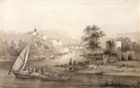 paysage de rivière des environs de lyon animé de barques et personnages by jean-jacques de boissieu