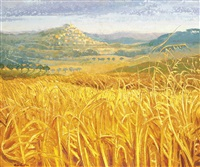provence - among the wheat fields of bonnieux, autumn by alan cotton