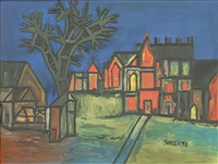 untitled (house and church in landscape) 1958 by francis newton souza