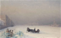 alexander ii on the frozen neva by ivan konstantinovich aivazovsky