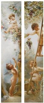 cupids-gardeners (2 works) by konstantin egorovich makovsky