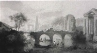 figures repairing a bridge, classical style ruins beyond by robert freebairn