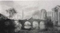 figures repairing a bridge, classical style ruins beyond by robert freebairn