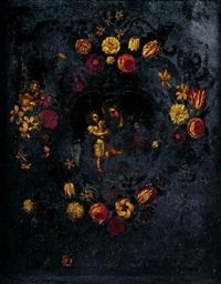saint joseph et l'enfant jésus dans une guirlande de fleurs by josefa de (obidos) ayala