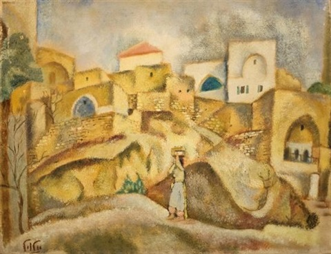 woman in a landscape by arieh allweil