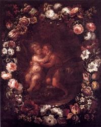 san juanito y el niño en guirnalda de flores by vicente berdusan