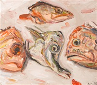 still life with fish heads by lewis miller