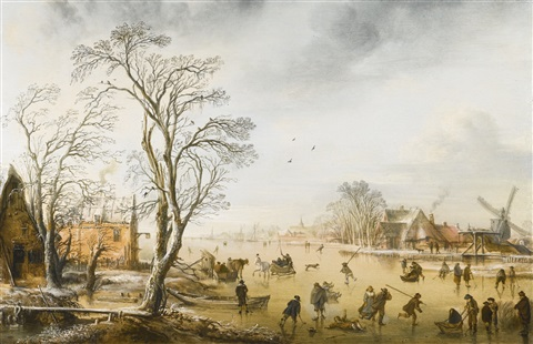 a winter landscape with skaters and kolf players on a frozen river by a village by aert van der neer