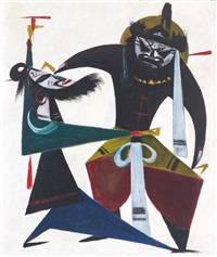 opera series: zhang fei by lin fengmian