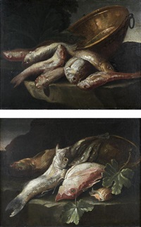 nature morte aux rougets barbet, dorade et bassine de cuivre (+ nature morte aux sardines, bar de ligne et coquillage; pair) by elena recco