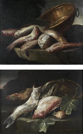 nature morte aux rougets barbet dorade et bassine de cuivre nature morte aux sardines bar de ligne et coquillage pair by elena recco