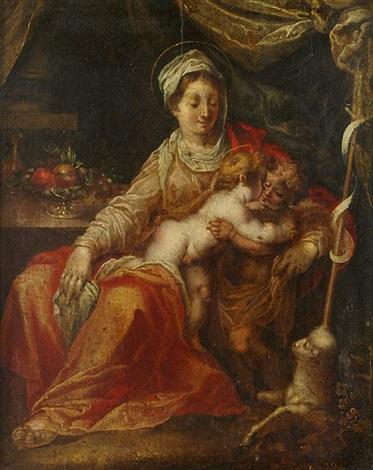 vierge à lenfant avec le petit saint jean baptiste by hans rottenhammer the elder