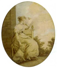 portrait of a lady, seated on a terrace, with a dog at her side by lady diana beauclerk
