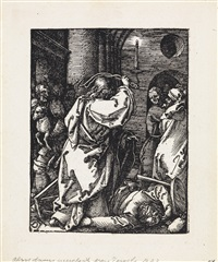 christ expulsing the moneylenders from the temple (+ four additional woodcuts from the small passion series, after the latin text edition) by albrecht dürer