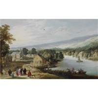an extensive landscape with a village near a river, with an elegant family on a path in the foreground, a ferryboat and small sailing vessels in the water, a church beyond by philips de momper the younger