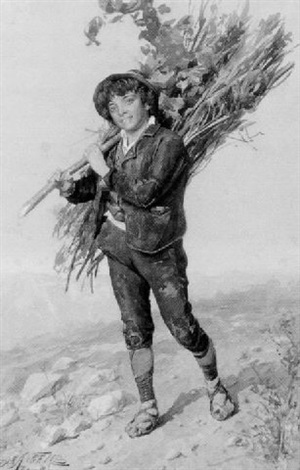 peasant boy carrying brush by domenico de angelis