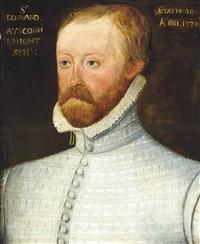 portrait of sir edward ayscough (1542-1612), half-length, in a grey slashed doublet and ruff by british school (16)