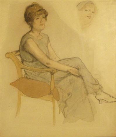 étude pour le portrait de madame marissiaux et esquisse de femme studyrecto verso by armand rassenfosse