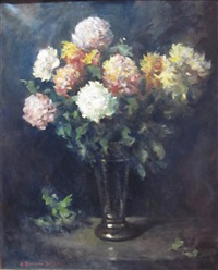 still life of chrysanthemums by henry raeburn dobson