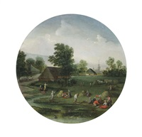 an allegory of summer; a summer landscape with figures haying, a village beyond by jacob grimmer