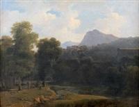 paysages d'italie avec un joueur de lyre by jean victor bertin
