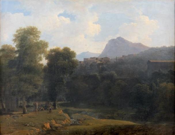 paysages ditalie avec un joueur de lyre by jean victor bertin