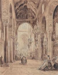 vue de l'interieur d'une église à palerme by achille vianelli