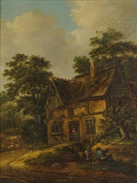a cottage with peasants by klaes molenaer