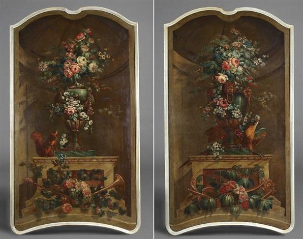 bouquet de fleurs dans un vase orné et un perroquet another pair by jean baptiste charles claudot