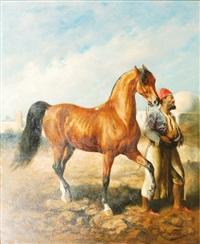 cavalier et sa monture by gustav colsoulle