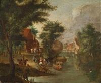 eine gesellschaft in einem am ufer eines kanals gelegenen dorf by peter gysels