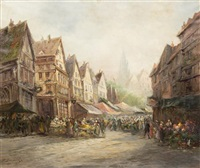 market scene, strasbourg by paul denarie