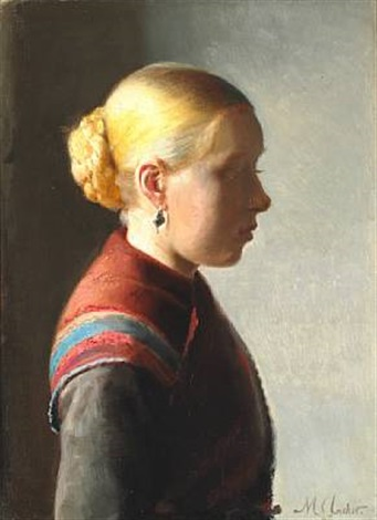 ung pige a young girl from skagen with her hair in a knot and with an earring by michael peter ancher